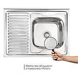 Кухонна мийка Lidz 6080-R 0,6 мм Polish (LIDZ6080RPOL06), фото 3