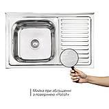 Кухонна мийка Lidz 5080-L 0,8 мм Polish (LIDZ5080LPOL08), фото 3