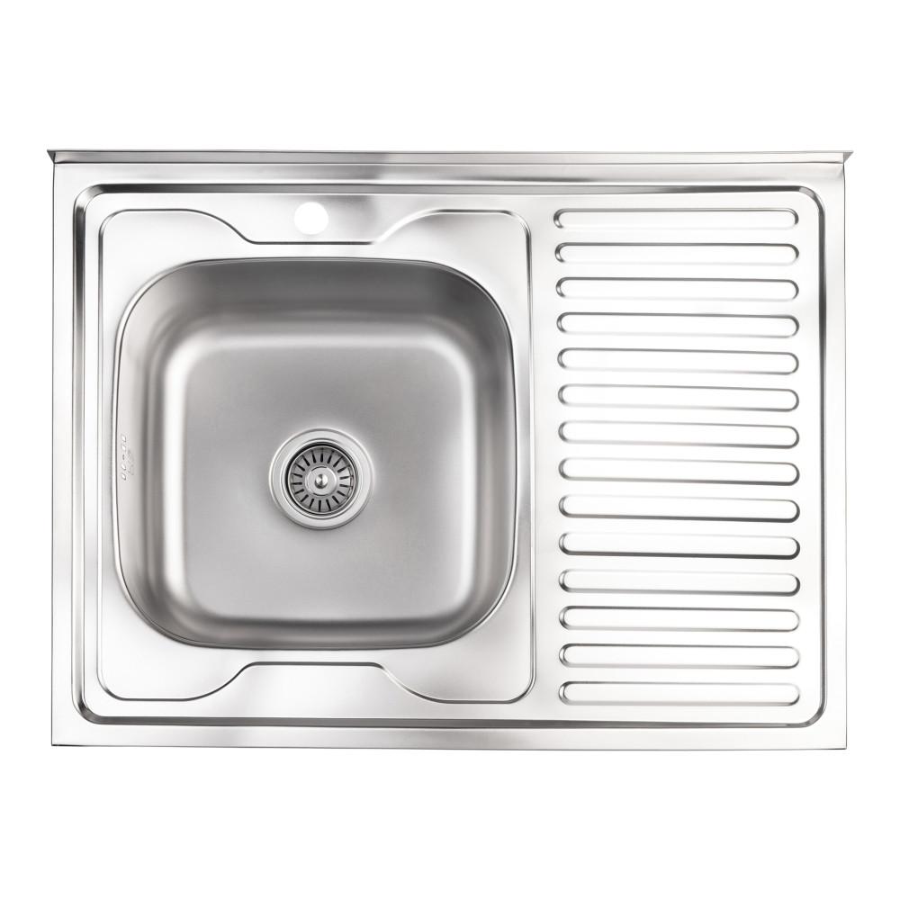 Кухонна мийка Lidz 6080-L 0,8 мм Satin (LIDZ6080LSAT8)