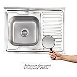 Кухонна мийка Lidz 6080-L 0,8 мм Satin (LIDZ6080LSAT8), фото 3