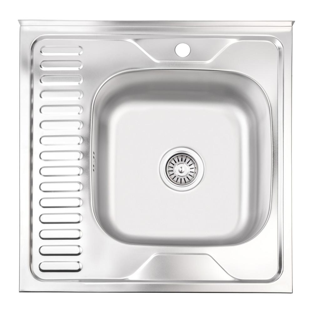Кухонна мийка Lidz 6060-R 0,8 мм Satin (LIDZ6060RSAT8)