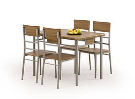 Столовый комплект  NATANIEL - NATAN орех  ( стол+4 кресла) (Halmar)