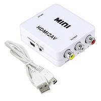 Конвертер HDMI - AV, RCA, видео, аудио, белый, 103776