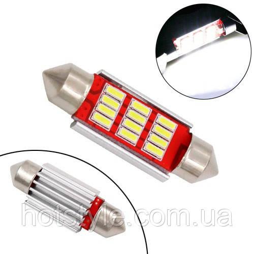 LED C5W C10W 36мм лампа в автомобиль, 12 SMD 4014, с обманкой Canbus, белый, 100194
