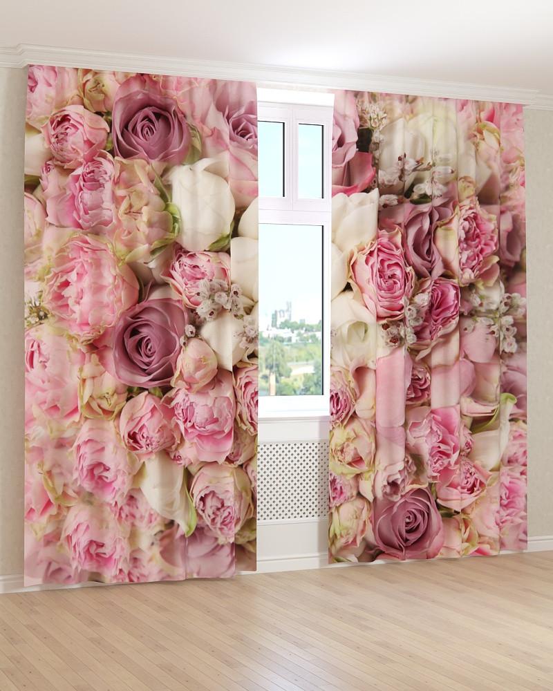 Фото шторы розовые и белые бутоны