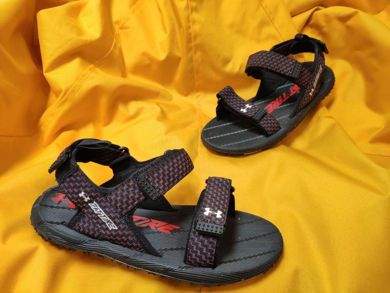 Мужские летние сандалии Under Armour Sandals Fattire x Michelin (красно-черные) D115 крутая легкая обувь