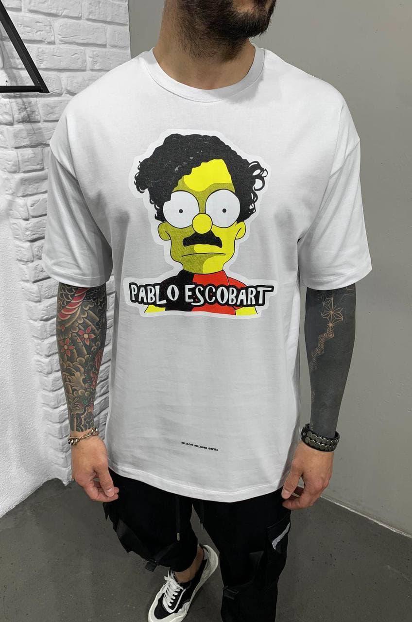 Футболка чоловіча білого кольору.Стильна футболка для чоловіків. Літня футболка з принтом.
