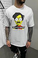 Футболка чоловіча білого кольору.Стильна футболка для чоловіків. Літня футболка з принтом., фото 1