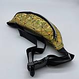 Женская бананка голографическая блестящая поясная детская сумочка золотая желтая, фото 2