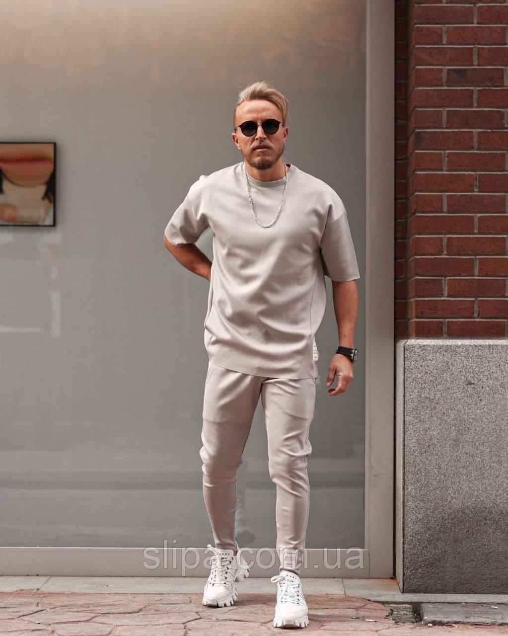 Серый спортивный костюм мужской | Турция | штаны + футболка, рукав 3/4 | оверсайз