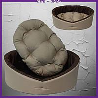 Лежанка для домашних питомцев, животных. Лежак для собак и кошек со съемной подушкой. Бежевый с коричневым