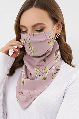 Женский лиловый шарф-маска с цветочным принтом