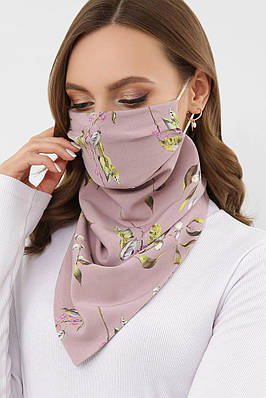 Жіночий ліловий шарф-маска з квітковим принтом