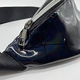 Женская бананка голографическая блестящая поясная детская сумочка черная, фото 4
