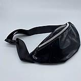 Женская бананка голографическая блестящая поясная детская сумочка черная, фото 3