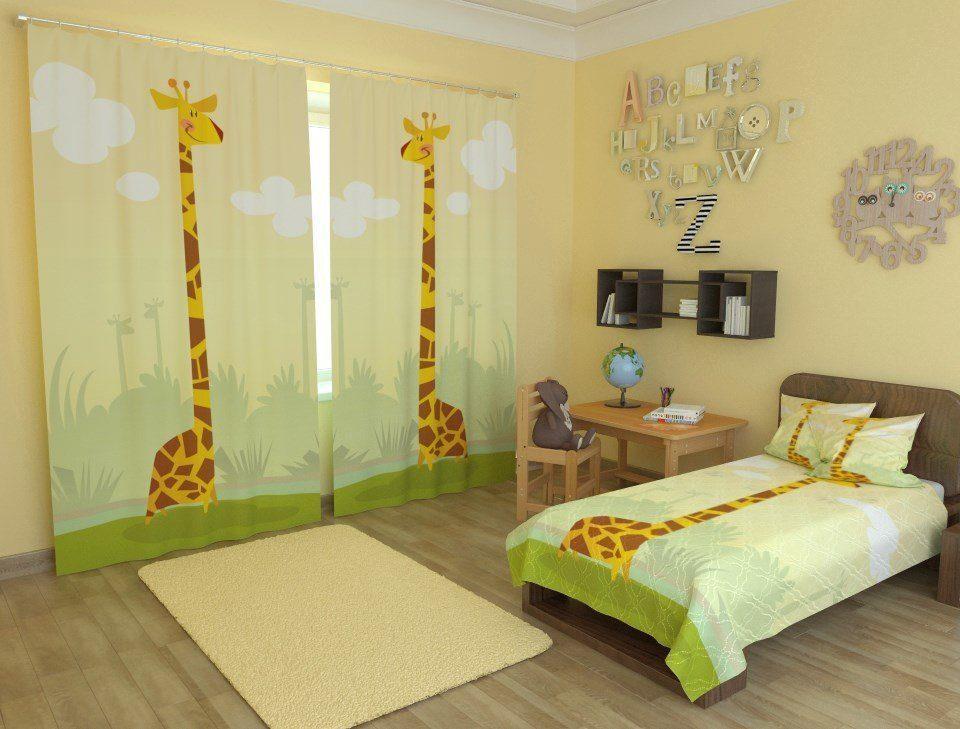 Фотошторы в дитячу з жирафом