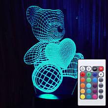 Акриловий світильник-нічник з пультом 16 кольорів Ведмедик з серцем 2 tty-n000330