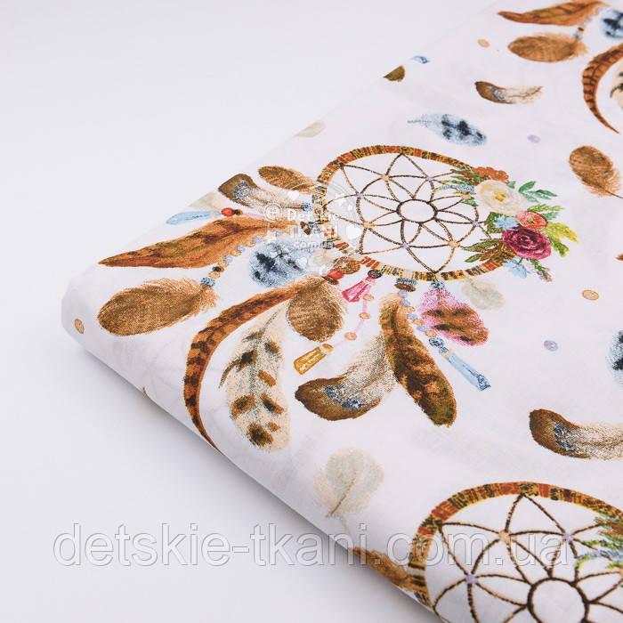 """Отрез ткани """"Ловцы снов"""" коричневые на белом (№2297а), размер 50*160 см"""