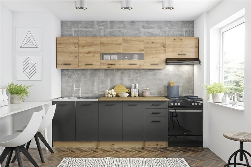 Кухня PERŁA 260 дуб артисан/світло сірий Halmar