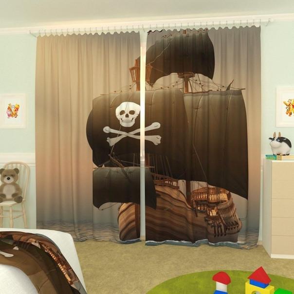 Фотошторы для дитячої піратський корабель