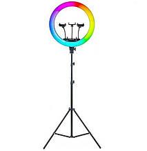 Лампа кольцевая цветная напольная MJ36 с штатив-треногой для съемки d-36 см