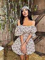 Нежное и очень красивое хлопковое платье в цветочный принт с открытыми плечами