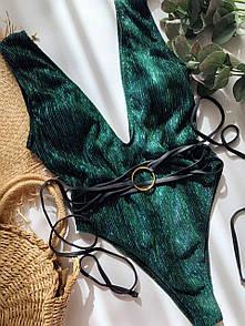 Жіночий Злитий Зелений Купальник з Глибоким Вирізом Декольте 2021
