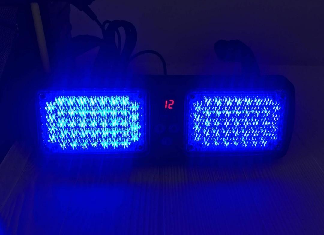 Проблисковий стробоскоп на козирок під скло синій LED Проблисковий сигнальний маячок для авто -12V