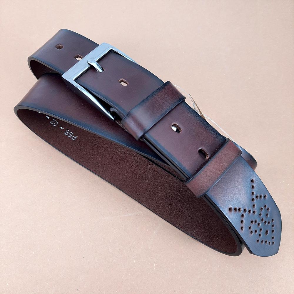 УЦЕНКА!! Ремень мужской кожаный коричневый Buffalo Wild PSB-02-GG 127 см (дефект)