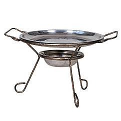 Підставка металева для підігріву м'яса Садж 280 мм з мискою і блюдом з нержавіючої сталі (РК-212734)
