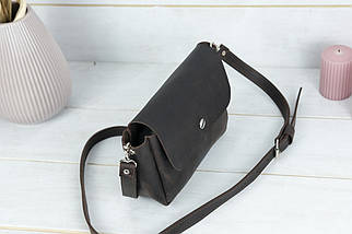 "Женская кожаная сумка ""Макарун XL"", Винтажная кожа, цвет Шоколад, фото 2"