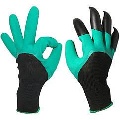 Садові рукавички з пластиковими наконечниками з кігтями для землі Garden Genie Gloves (ml-89)