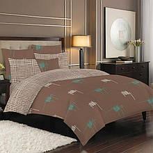 Постельное белье бязь голд люкс полуторный коричневый абстракция.