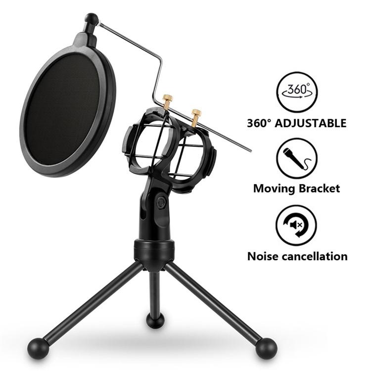 Настольная подставка для микрофона держатель штатив тринога с поп-фильтром защитой от ветра Soncm PS-3