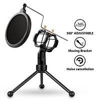 Настольная подставка для микрофона держатель штатив тринога с поп-фильтром защитой от ветра Soncm PS-3, фото 1