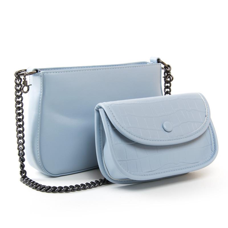 Набір сумка жіноча з клатчем 25*16*7 див. блакитна BST 300392