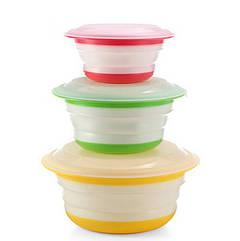 Складна миска Feramo з кришкою 3 шт в комплекті для харчових продуктів (HbP625543)