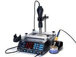 ИК Преднагреватель плат с феном и паяльником YIHUA 853AАА  (Размер нагревателя 120 x 120 мм, фен с держателем)