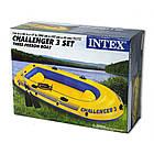 """Лодка надувная трехместная с веслами и насосом Intex 68370 """"Challenger"""" Синий, фото 3"""