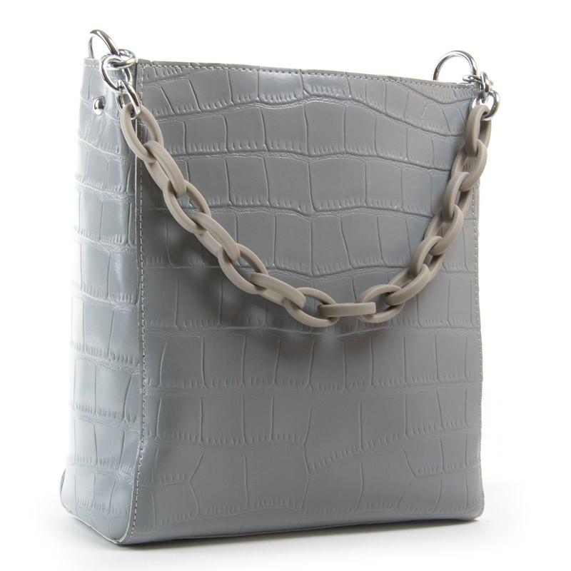 Женская сумка кожаная 24*26*13 см. серая BST 300515