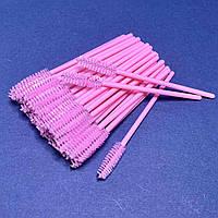 Щіточки для брів і вій 50 шт рожеві