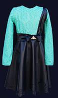Платье для  девочки с выбитой юбкой из PU кожи.