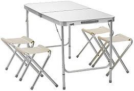 Стол для пикника складной Gioia с регулировкой по высоте 120 х 60 х 55-70 с 4 стульями Белый (1147941023)