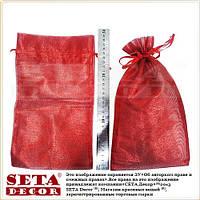 Полупрозрачный красный подарочный мешочек 16х29(23) см блестящий из органзы