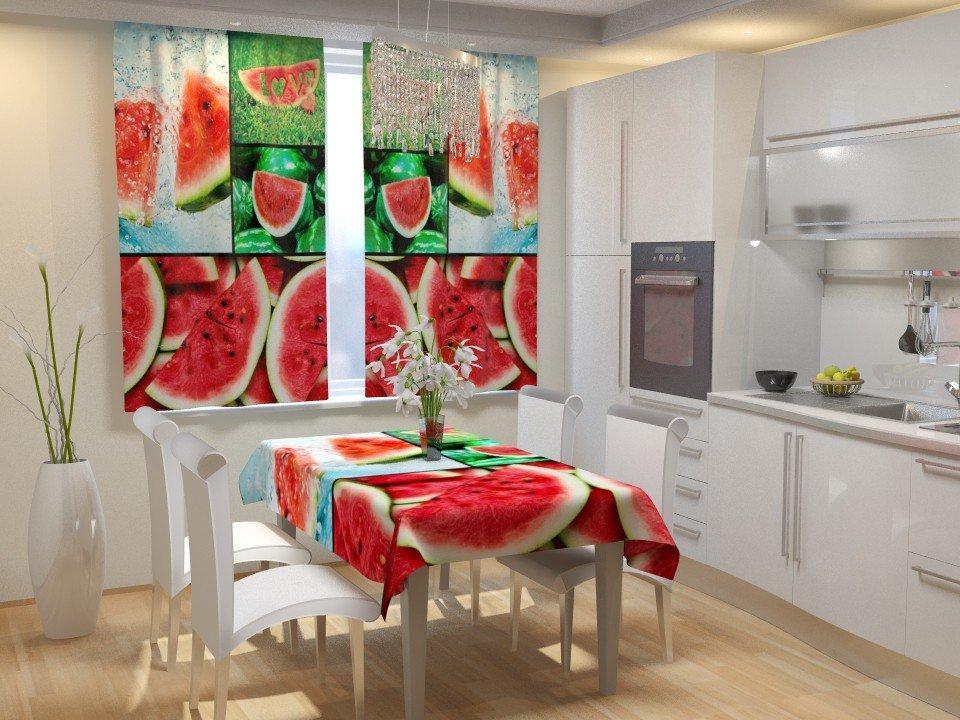 Фотошторы для кухні 3д кавун