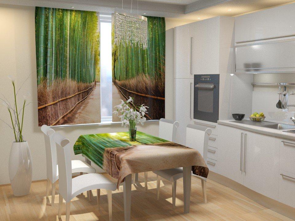 Фотошторы для кухні стежка в бамбуку