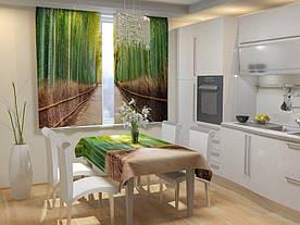 Фотошторы для кухни тропа в бамбуке