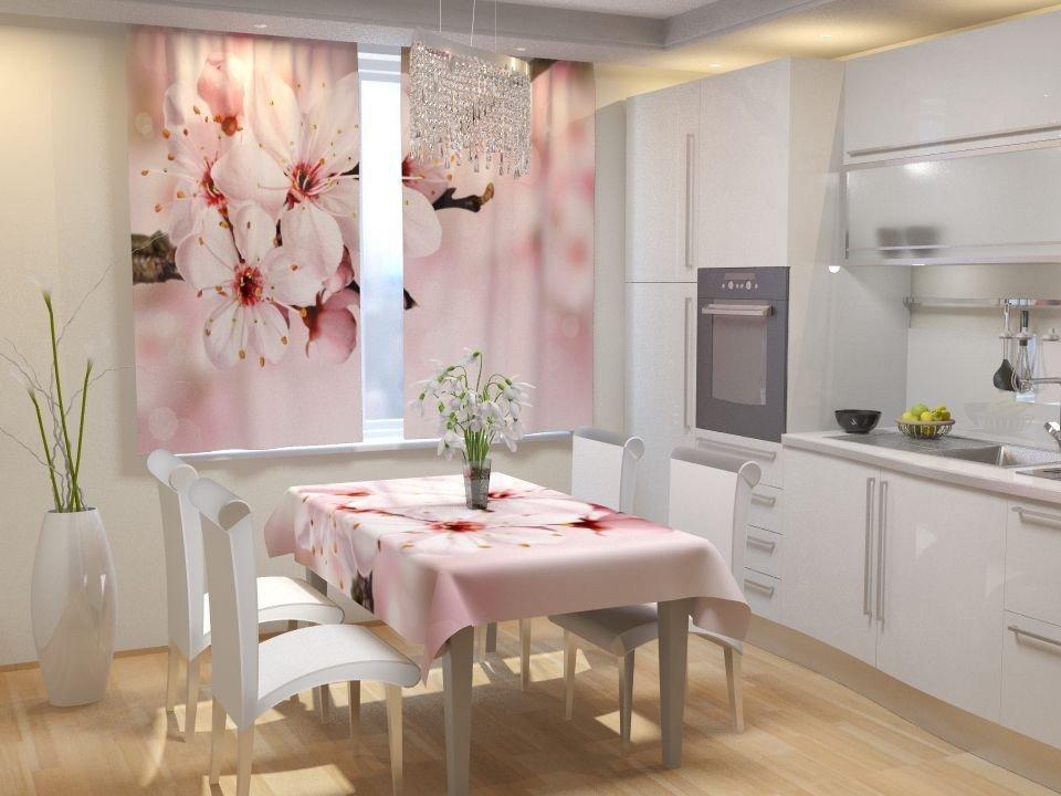 Фотошторы для кухні яблуневий цвіт