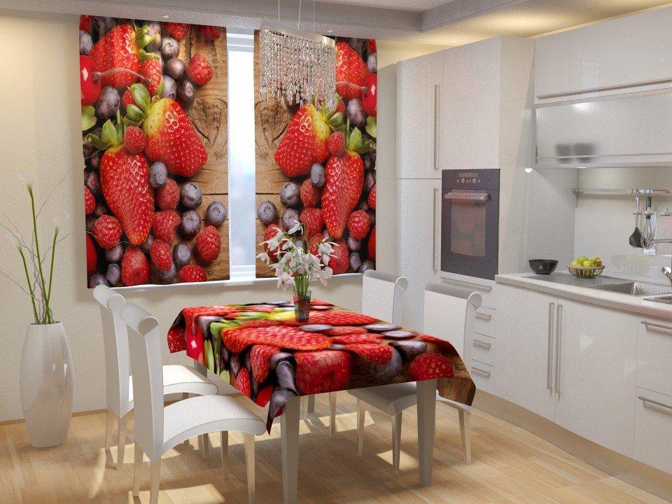 Фотошторы для кухні ягоди полуниці