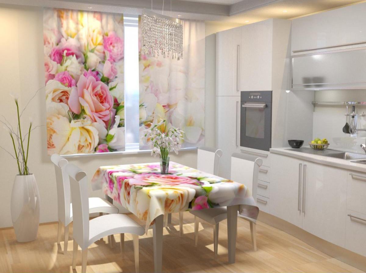 Фотошторы для кухні біло-рожеві троянди